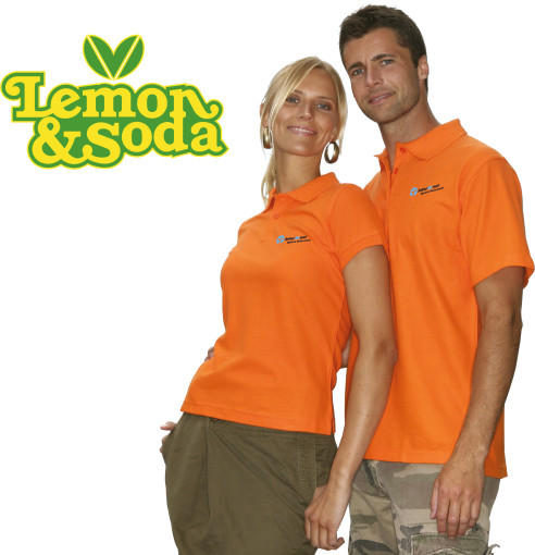 Relatiegeschenk Lemon & Soda Basic Polo Heren bedrukken