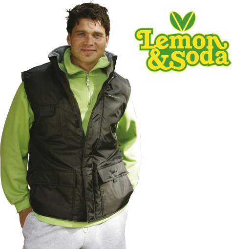 Relatiegeschenk Lemon & Soda polar fleece bodywarmer bedrukken